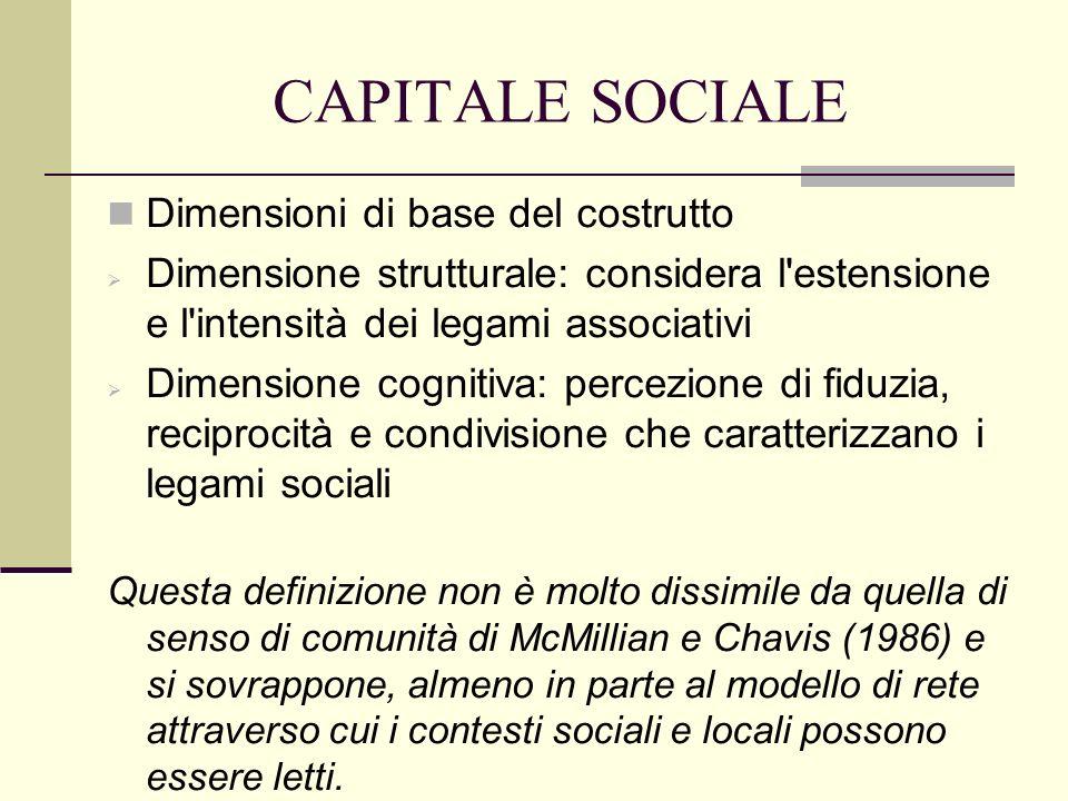 CAPITALE SOCIALE La differenza tra capitale sociale e rete risiederebbe nel fatto che il primo si riferisce a una caratteristica della struttura sociale, non dei singoli attori sociali, mentre la seconda identifica il tipo di supporto sociale che riguarda i singoli (Lochner, Kawachi, Kennedy, 1999; Kawachi, Subramanian, 2004).