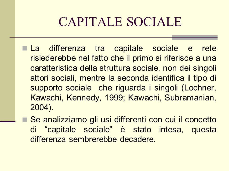 CAPITALE SOCIALE Il capitale sociale può essere inteso sia come risorsa di cui anche il singolo può disporre, sia come tessuto di reti di reti di cui un contesto sociale è composto.