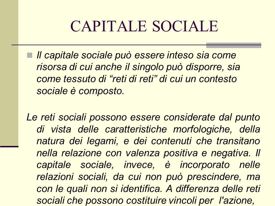 CAPITALE SOCIALE il capitale sociale è sempre una fonte di benefici;si riferisce solo alle risorse di cui l individuo si appropria, attraverso il sostegno e l attivazione delle relazioni, per realizzare qualche suo obiettivo o scopo.