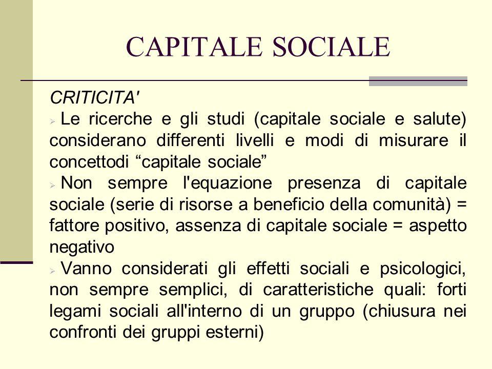 CAPITALE SOCIALE CRITICITA Individuazione delle norme di riferimento che governano un gruppo o una comunità.
