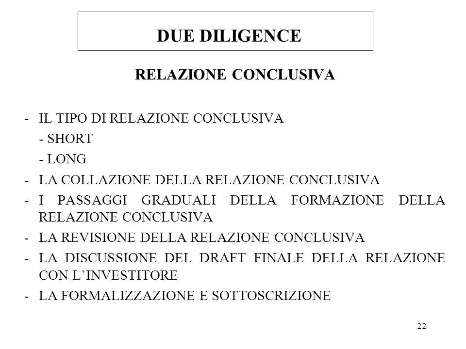 22 DUE DILIGENCE RELAZIONE CONCLUSIVA -IL TIPO DI RELAZIONE CONCLUSIVA - SHORT - LONG -LA COLLAZIONE DELLA RELAZIONE CONCLUSIVA -I PASSAGGI GRADUALI DELLA FORMAZIONE DELLA RELAZIONE CONCLUSIVA -LA REVISIONE DELLA RELAZIONE CONCLUSIVA -LA DISCUSSIONE DEL DRAFT FINALE DELLA RELAZIONE CON LINVESTITORE -LA FORMALIZZAZIONE E SOTTOSCRIZIONE