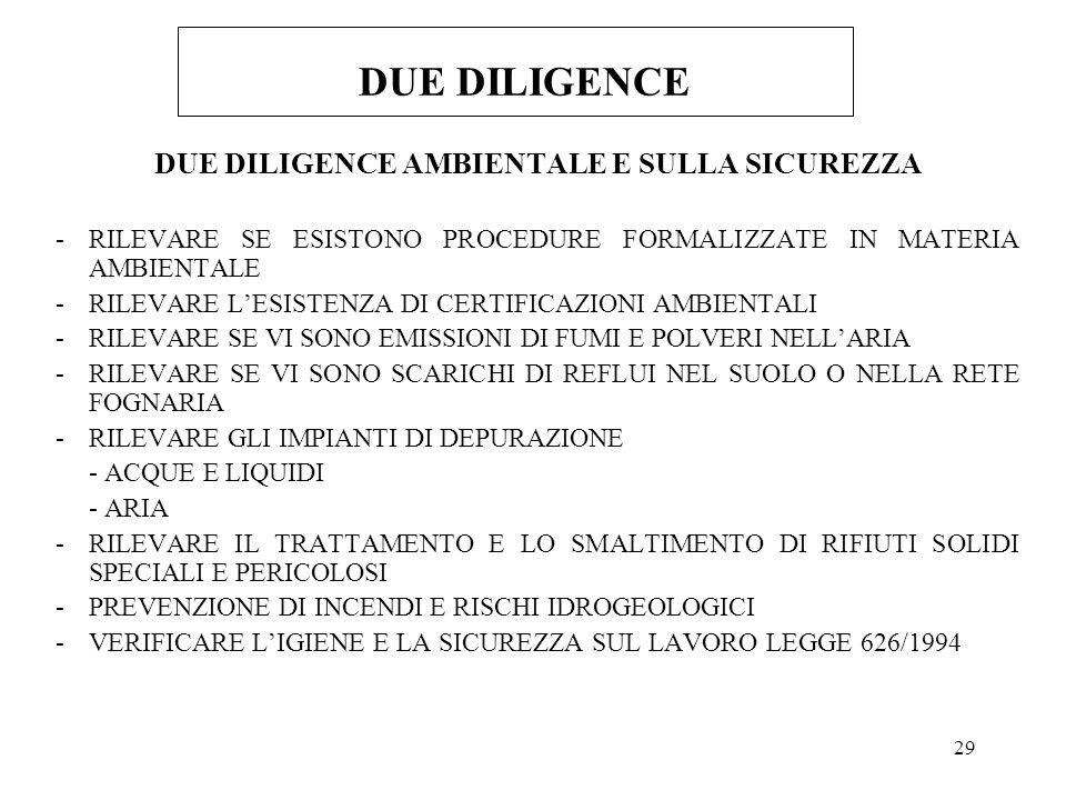 29 DUE DILIGENCE DUE DILIGENCE AMBIENTALE E SULLA SICUREZZA -RILEVARE SE ESISTONO PROCEDURE FORMALIZZATE IN MATERIA AMBIENTALE -RILEVARE LESISTENZA DI