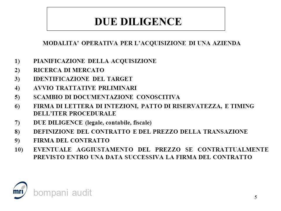 5 DUE DILIGENCE MODALITA OPERATIVA PER LACQUISIZIONE DI UNA AZIENDA 1)PIANIFICAZIONE DELLA ACQUISIZIONE 2)RICERCA DI MERCATO 3)IDENTIFICAZIONE DEL TAR
