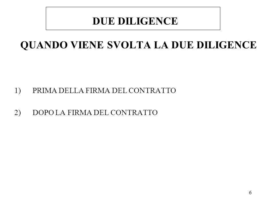 27 DUE DILIGENCE DUE DILIGENCE OPERATIVA -RILEVARE LE PROCEDURE OPERATIVE PIU IMPORTANTI - ACQUISTI - TESORERIA - PERSONALE - PRODUZIONE - INFORMATIZZAZIONE -RILEVARE GLI INDICI DI PRODUTTIVITA - PER SETTORE OPERATIVO - PER SOCIETA -ACQUISIRE LORGANIGRAMMA - PER FUNZIONE - PER QUALIFICA CONTRATTUALE -ANALIZZARE IL COSTO DEL PERSONALE PER SETTORE, PER UNITA PRODUTTIVA