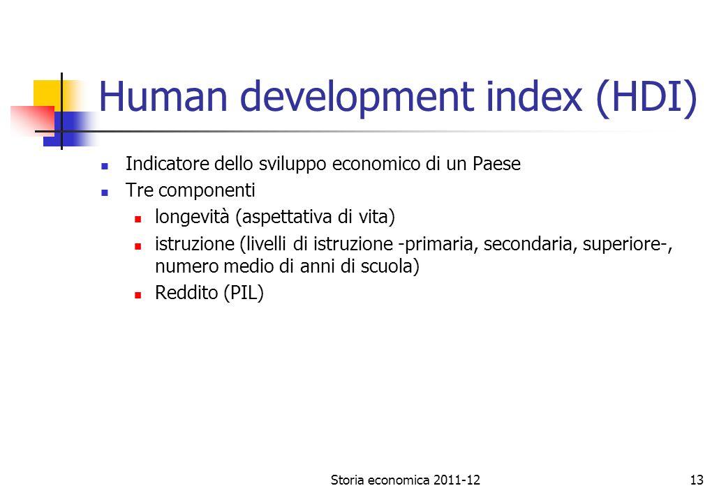 Storia economica 2011-1213 Human development index (HDI) Indicatore dello sviluppo economico di un Paese Tre componenti longevità (aspettativa di vita) istruzione (livelli di istruzione -primaria, secondaria, superiore-, numero medio di anni di scuola) Reddito (PIL)