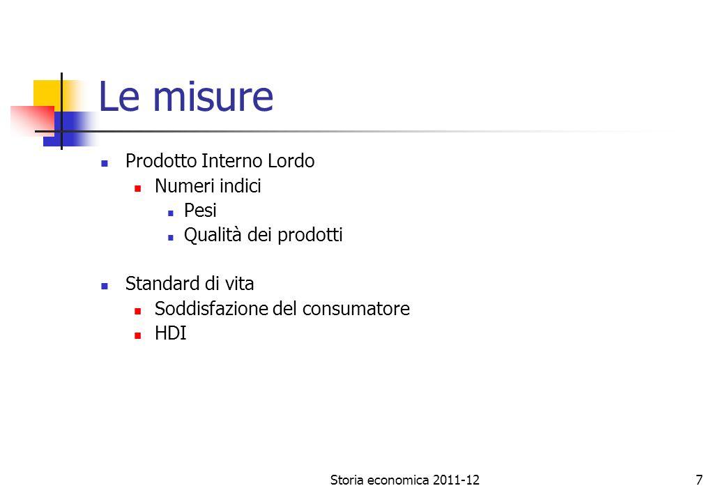 Storia economica 2011-127 Le misure Prodotto Interno Lordo Numeri indici Pesi Qualità dei prodotti Standard di vita Soddisfazione del consumatore HDI