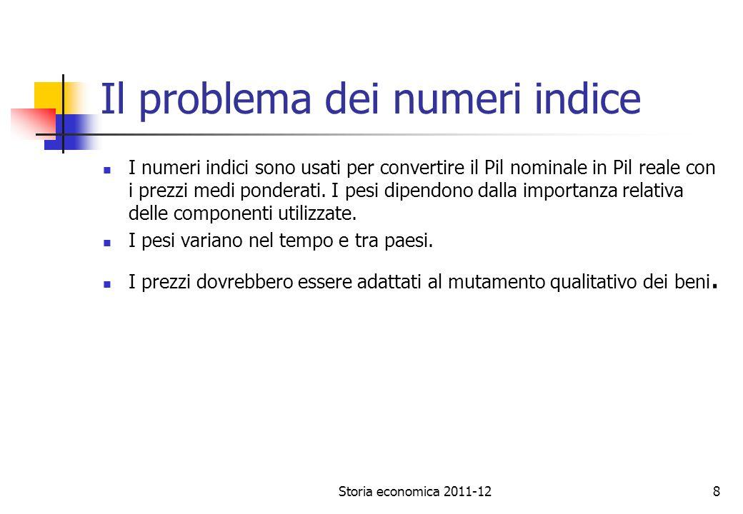 Storia economica 2011-128 Il problema dei numeri indice I numeri indici sono usati per convertire il Pil nominale in Pil reale con i prezzi medi ponderati.