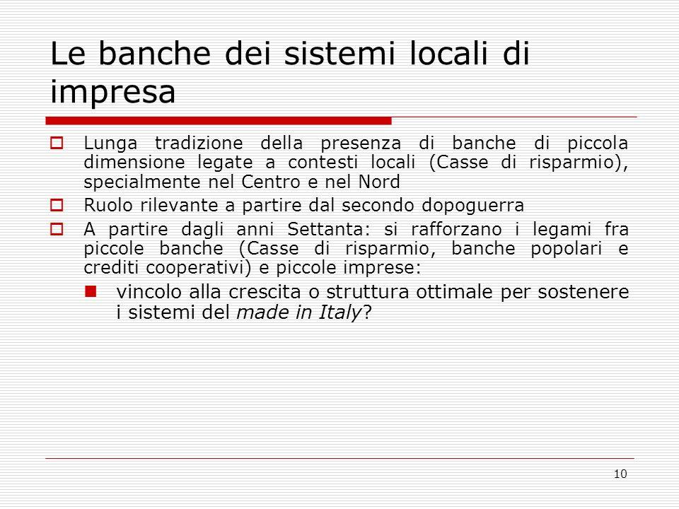 10 Le banche dei sistemi locali di impresa Lunga tradizione della presenza di banche di piccola dimensione legate a contesti locali (Casse di risparmio), specialmente nel Centro e nel Nord Ruolo rilevante a partire dal secondo dopoguerra A partire dagli anni Settanta: si rafforzano i legami fra piccole banche (Casse di risparmio, banche popolari e crediti cooperativi) e piccole imprese: vincolo alla crescita o struttura ottimale per sostenere i sistemi del made in Italy
