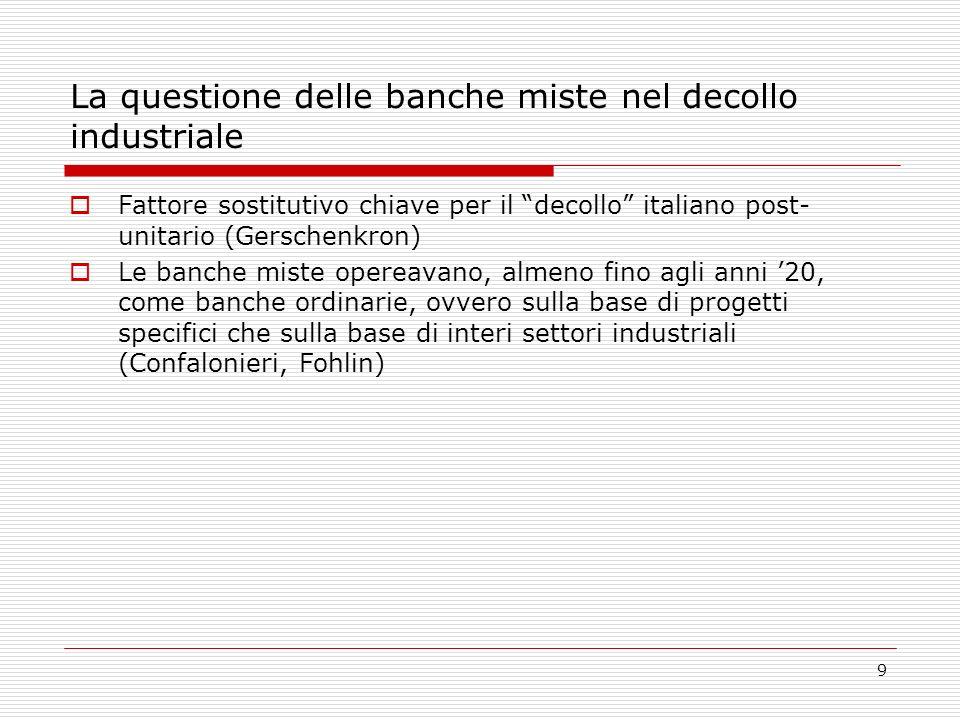 9 La questione delle banche miste nel decollo industriale Fattore sostitutivo chiave per il decollo italiano post- unitario (Gerschenkron) Le banche miste opereavano, almeno fino agli anni 20, come banche ordinarie, ovvero sulla base di progetti specifici che sulla base di interi settori industriali (Confalonieri, Fohlin)