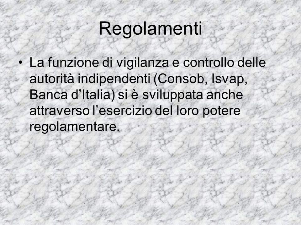 Regolamenti La funzione di vigilanza e controllo delle autorità indipendenti (Consob, Isvap, Banca dItalia) si è sviluppata anche attraverso lesercizi