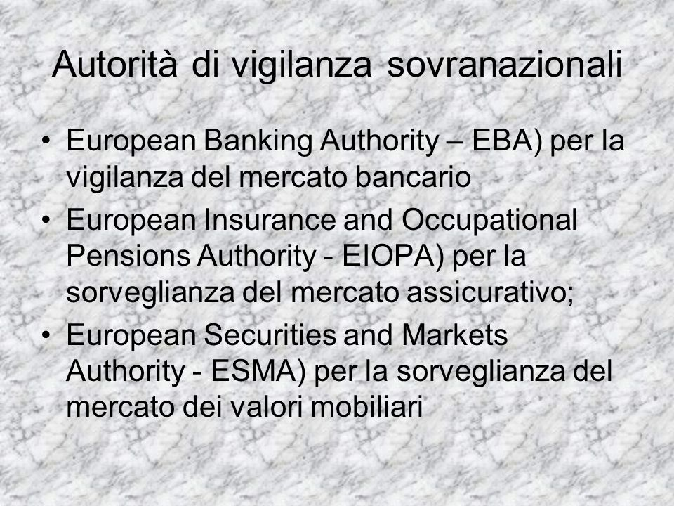 Autorità di vigilanza sovranazionali European Banking Authority – EBA) per la vigilanza del mercato bancario European Insurance and Occupational Pensi