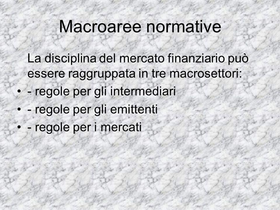 Macroaree normative La disciplina del mercato finanziario può essere raggruppata in tre macrosettori: - regole per gli intermediari - regole per gli e