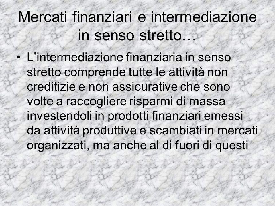 Mercati finanziari e intermediazione in senso stretto… Lintermediazione finanziaria in senso stretto comprende tutte le attività non creditizie e non