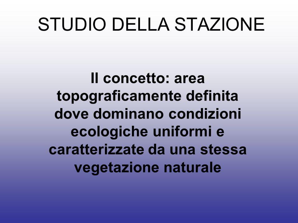 STUDIO DELLA STAZIONE Il concetto: area topograficamente definita dove dominano condizioni ecologiche uniformi e caratterizzate da una stessa vegetazione naturale