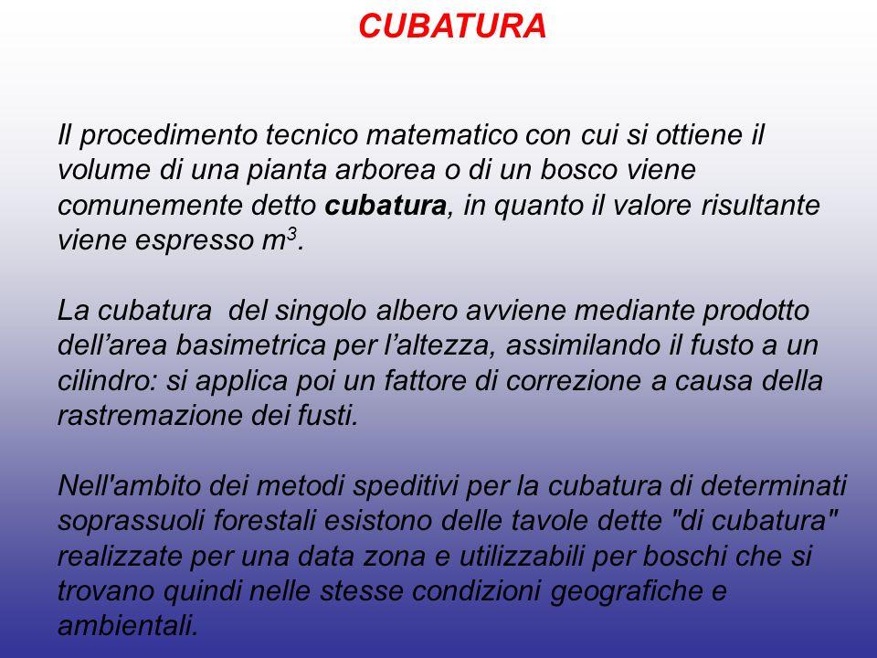 CUBATURA Il procedimento tecnico matematico con cui si ottiene il volume di una pianta arborea o di un bosco viene comunemente detto cubatura, in quanto il valore risultante viene espresso m 3.