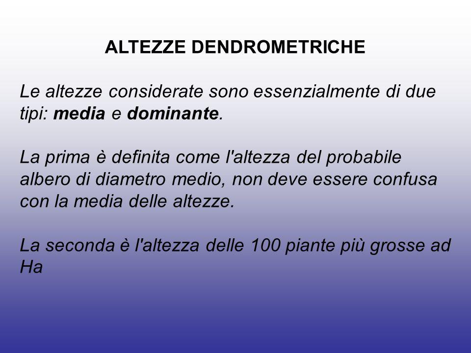 ALTEZZE DENDROMETRICHE Le altezze considerate sono essenzialmente di due tipi: media e dominante.