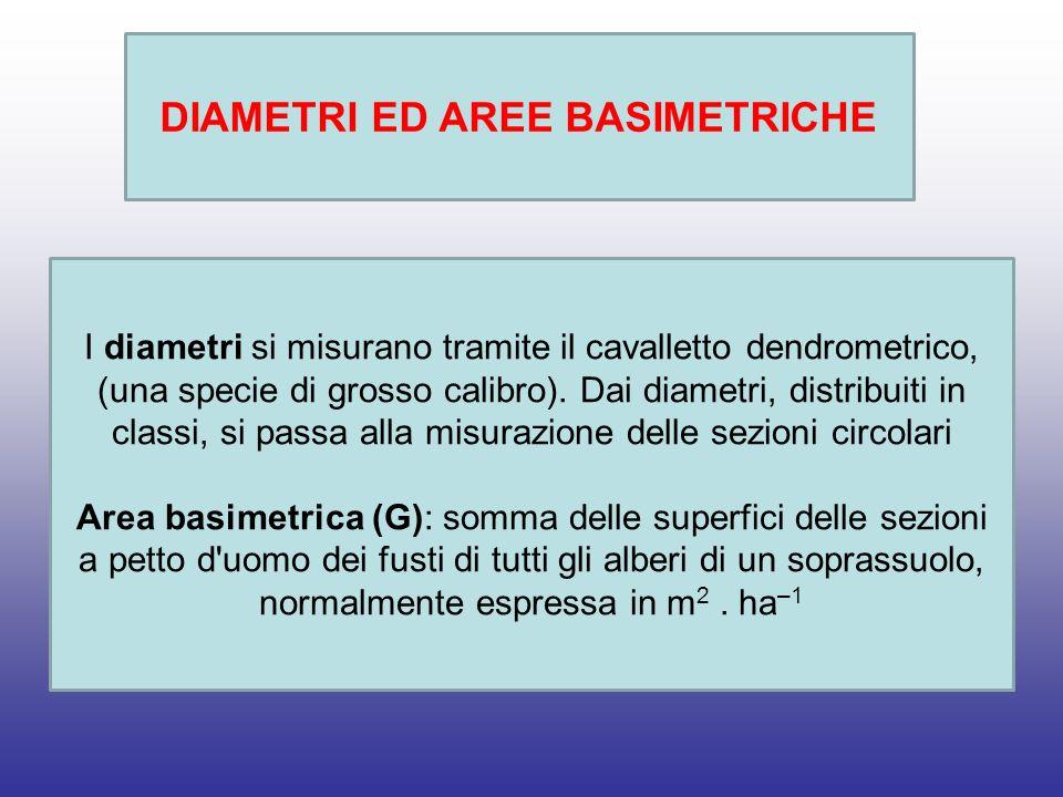 DIAMETRI ED AREE BASIMETRICHE I diametri si misurano tramite il cavalletto dendrometrico, (una specie di grosso calibro).