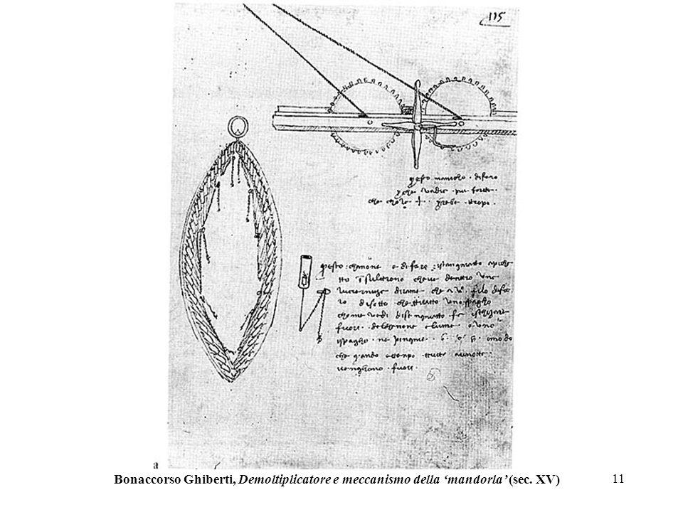 11 Bonaccorso Ghiberti, Demoltiplicatore e meccanismo della mandorla (sec. XV)