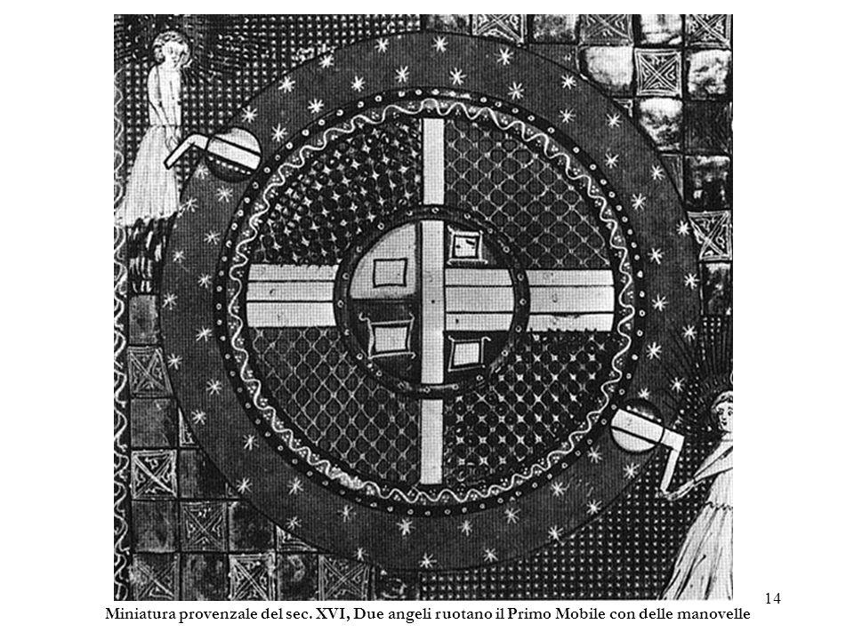 14 Miniatura provenzale del sec. XVI, Due angeli ruotano il Primo Mobile con delle manovelle