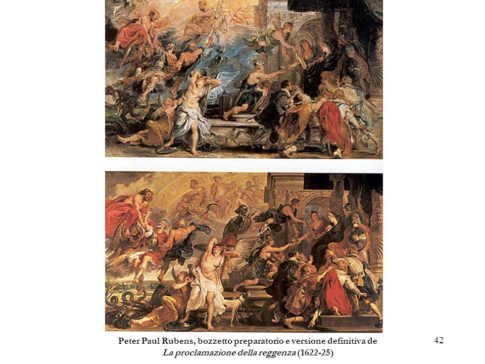 42 Peter Paul Rubens, bozzetto preparatorio e versione definitiva de La proclamazione della reggenza (1622-25)
