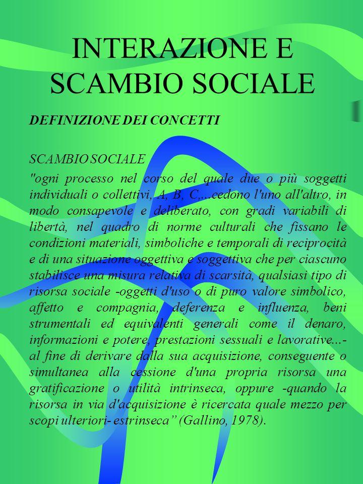 INTERAZIONE E SCAMBIO SOCIALE DEFINIZIONE DEI CONCETTI SCAMBIO SOCIALE Esistono numerosi tipi di scambio.