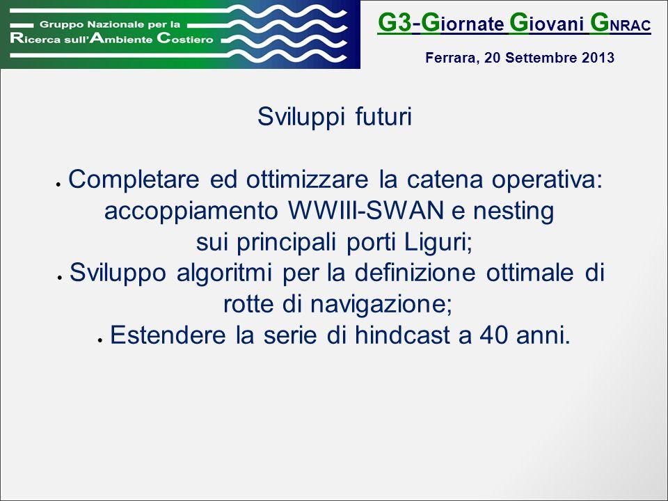 G3-G iornate G iovani G NRAC Ferrara, 20 Settembre 2013 Sviluppi futuri Completare ed ottimizzare la catena operativa: accoppiamento WWIII-SWAN e nesting sui principali porti Liguri; Sviluppo algoritmi per la definizione ottimale di rotte di navigazione; Estendere la serie di hindcast a 40 anni.