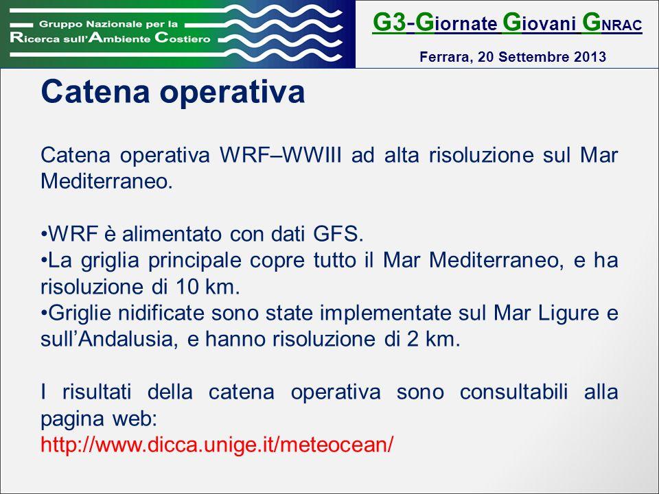 G3-G iornate G iovani G NRAC Ferrara, 20 Settembre 2013 Catena operativa Catena operativa WRF–WWIII ad alta risoluzione sul Mar Mediterraneo.