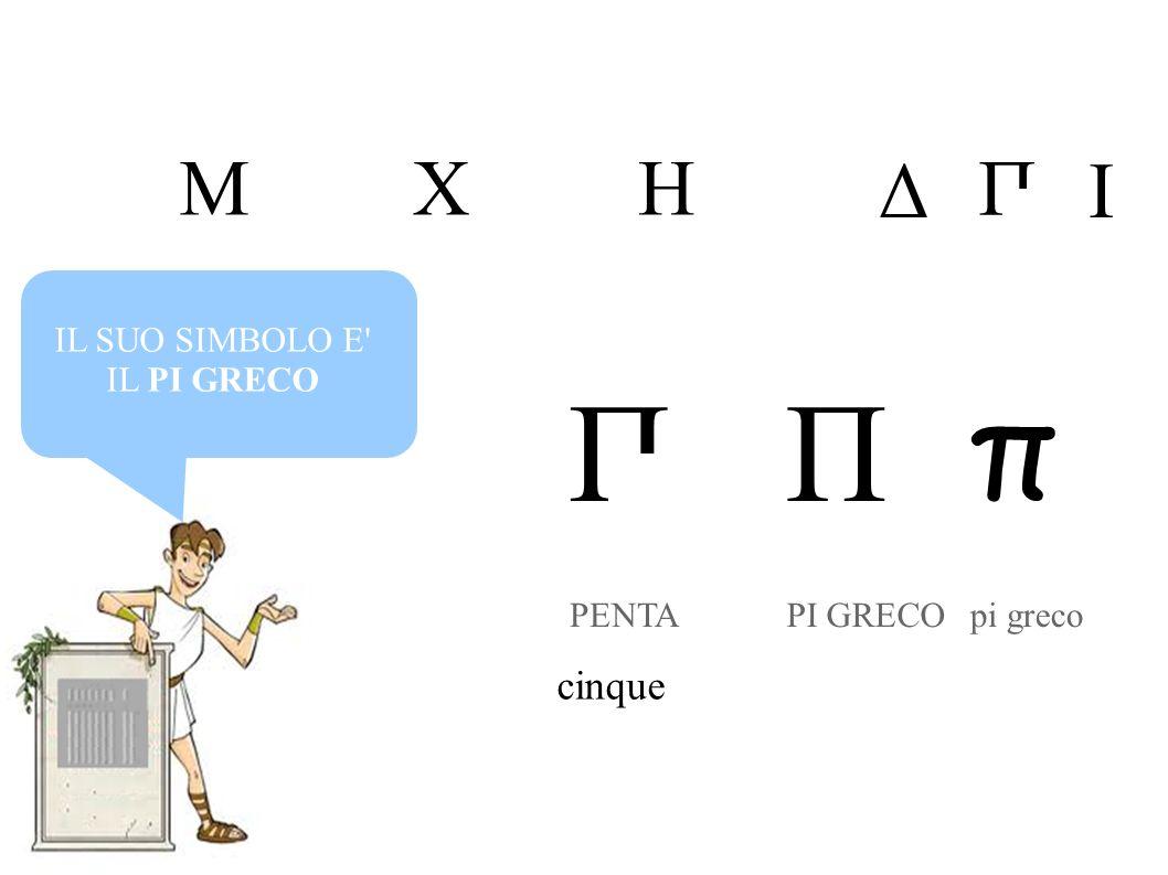 IL SUO SIMBOLO E' IL PI GRECO П PENTA cinque MHX Δ П I П PI GRECO π pi greco