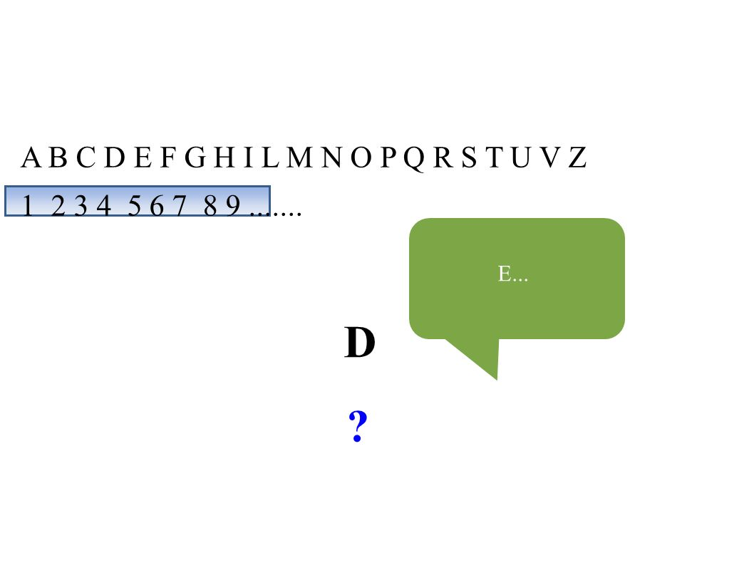 A B C D E F G H I L M N O P Q R S T U V Z 1 2 3 4 5 6 7 8 9....... D E...