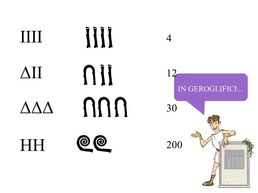 IN GEROGLIFICI... 4 12 30 200 IIII ΔII ΔΔΔ HH