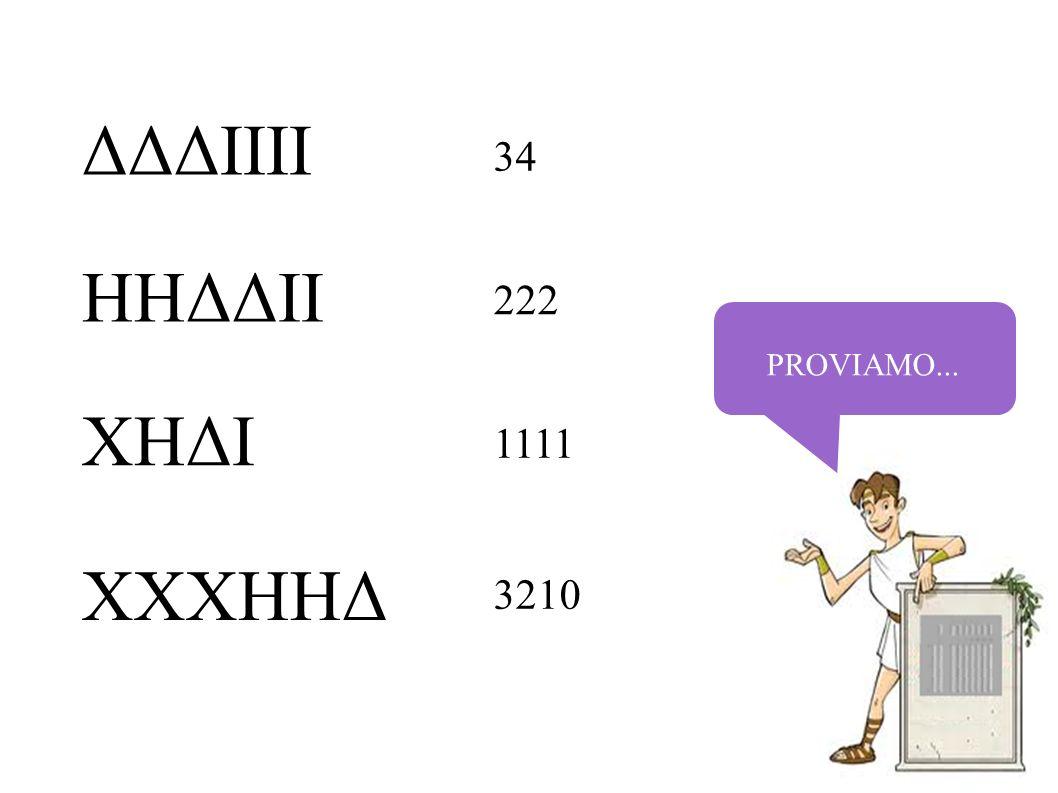 PROVIAMO... ΔΔΔIIII HHΔΔII XHΔI XXXHHΔ 34 222 1111 3210