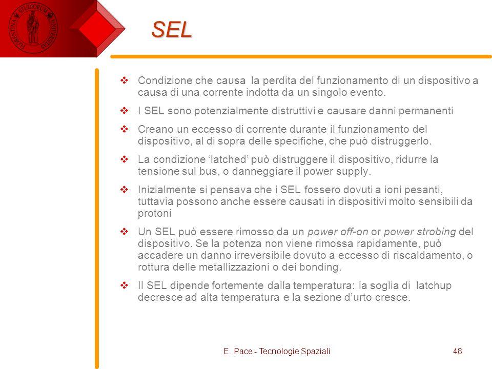 E. Pace - Tecnologie Spaziali48 SEL Condizione che causa la perdita del funzionamento di un dispositivo a causa di una corrente indotta da un singolo