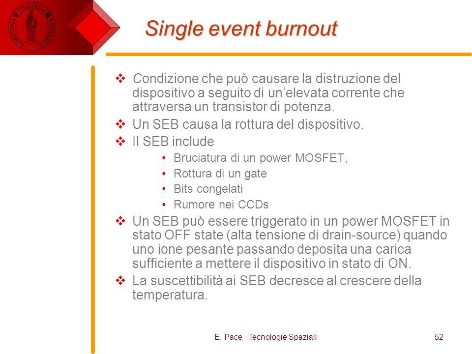 E. Pace - Tecnologie Spaziali52 Single event burnout Condizione che può causare la distruzione del dispositivo a seguito di unelevata corrente che att