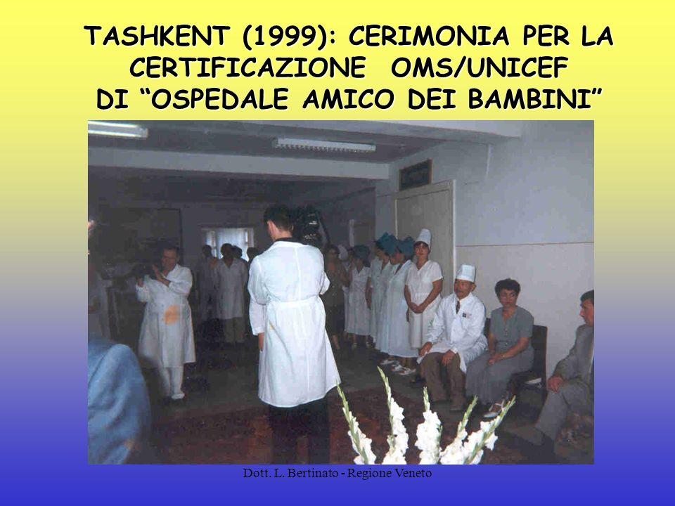 TASHKENT (1999): CERIMONIA PER LA CERTIFICAZIONE OMS/UNICEF DI OSPEDALE AMICO DEI BAMBINI