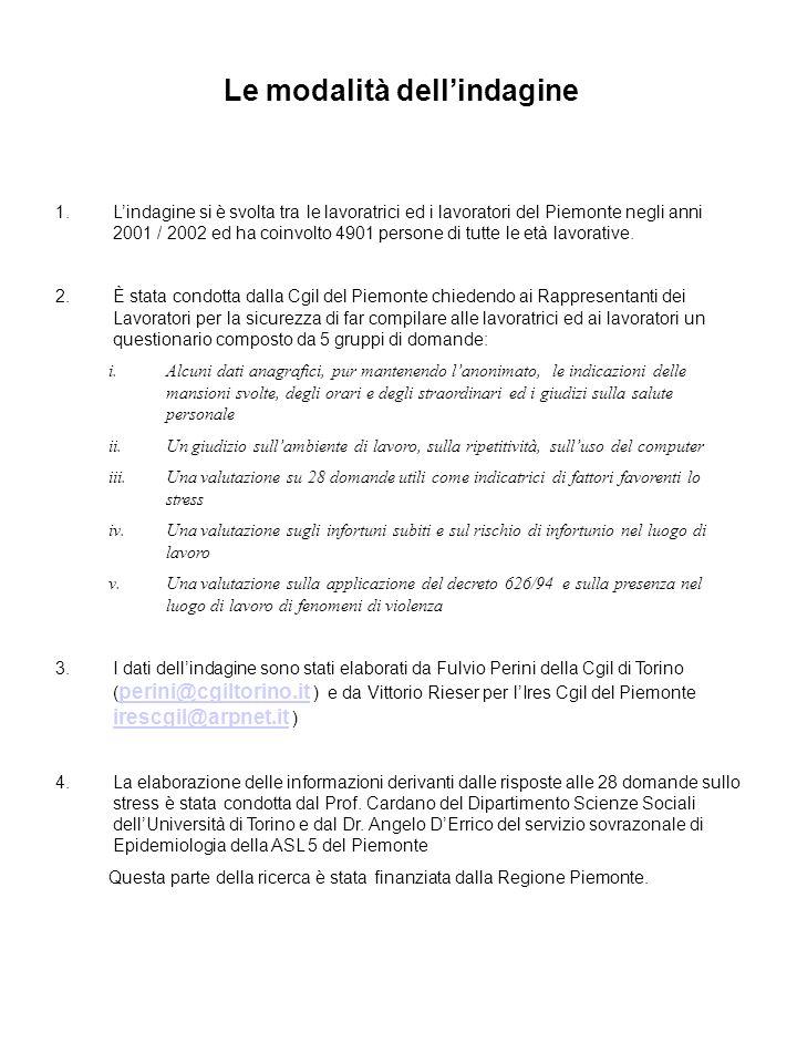 Le modalità dellindagine 1.Lindagine si è svolta tra le lavoratrici ed i lavoratori del Piemonte negli anni 2001 / 2002 ed ha coinvolto 4901 persone d