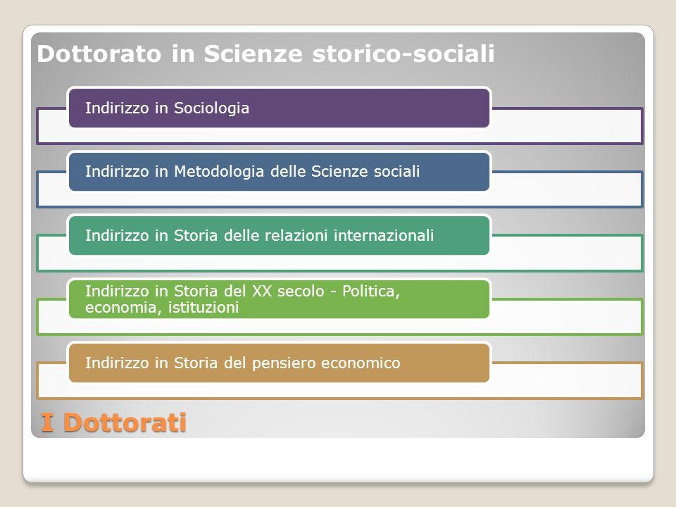 I Dottorati Indirizzo in SociologiaIndirizzo in Metodologia delle Scienze socialiIndirizzo in Storia delle relazioni internazionali Indirizzo in Stori