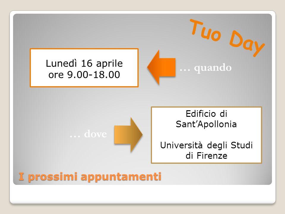 I prossimi appuntamenti Lunedì 16 aprile ore 9.00-18.00 Edificio di SantApollonia Università degli Studi di Firenze … quando … dove Tuo Day