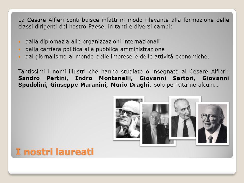 I nostri laureati La Cesare Alfieri contribuisce infatti in modo rilevante alla formazione delle classi dirigenti del nostro Paese, in tanti e diversi
