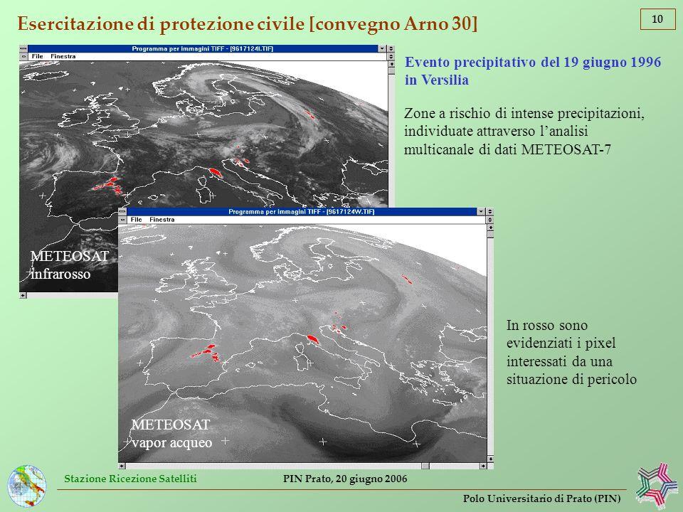 Stazione Ricezione Satelliti 10 Polo Universitario di Prato (PIN) PIN Prato, 20 giugno 2006 Esercitazione di protezione civile [convegno Arno 30] Zone