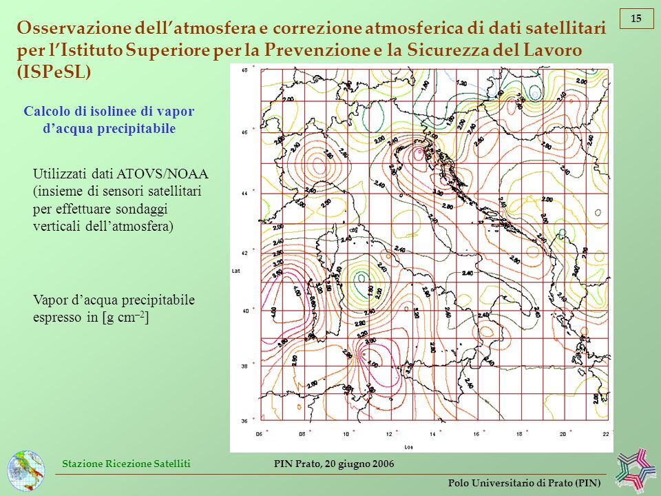 Stazione Ricezione Satelliti 15 Polo Universitario di Prato (PIN) PIN Prato, 20 giugno 2006 Osservazione dellatmosfera e correzione atmosferica di dat