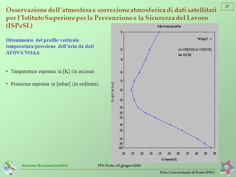 Stazione Ricezione Satelliti 17 Polo Universitario di Prato (PIN) PIN Prato, 20 giugno 2006 Osservazione dellatmosfera e correzione atmosferica di dat