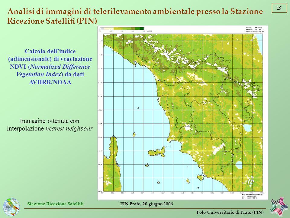Stazione Ricezione Satelliti 19 Polo Universitario di Prato (PIN) PIN Prato, 20 giugno 2006 Analisi di immagini di telerilevamento ambientale presso l