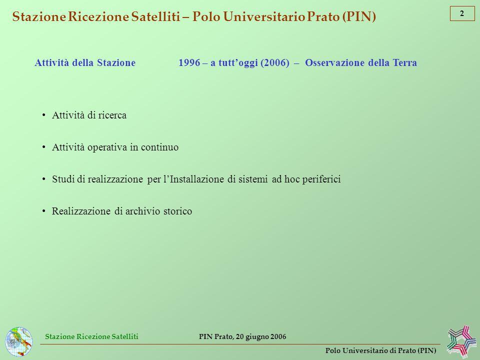 Stazione Ricezione Satelliti 13 Polo Universitario di Prato (PIN) PIN Prato, 20 giugno 2006 Esercitazione di protezione civile [convegno Arno 30] Analisi comparata tassi di pioggia stimati da satellite (dati SSM/I e METEOSAT) È possibile localizzare con precisione larea dellevento e delle relative intense precipitazioni