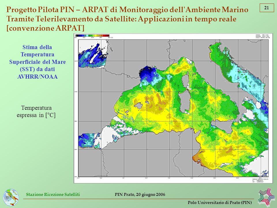 Stazione Ricezione Satelliti 21 Polo Universitario di Prato (PIN) PIN Prato, 20 giugno 2006 Progetto Pilota PIN – ARPAT di Monitoraggio dell'Ambiente