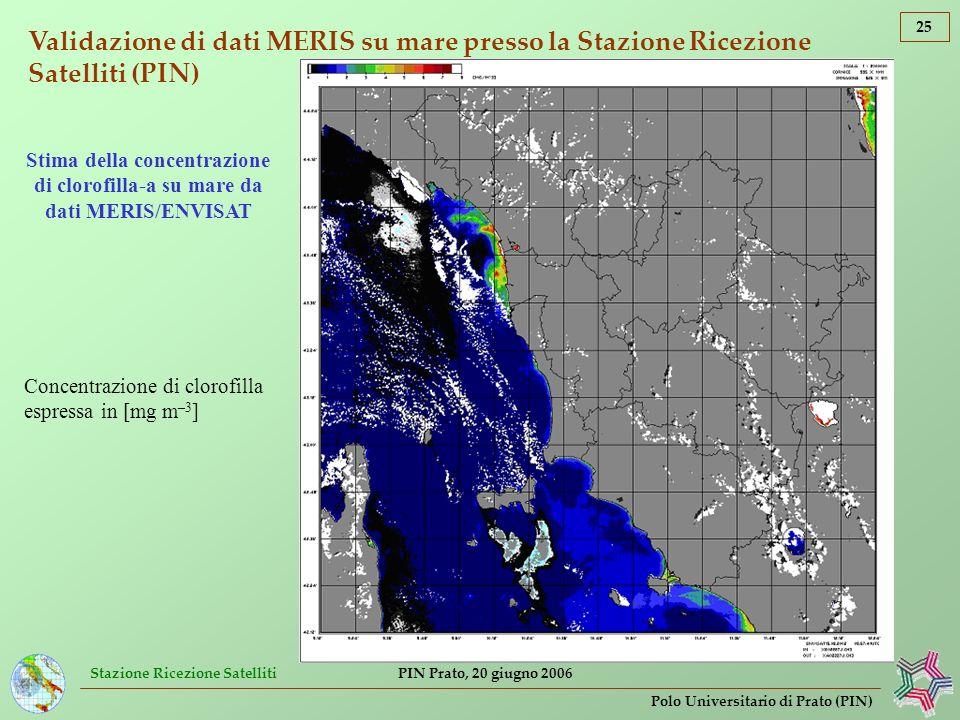 Stazione Ricezione Satelliti 25 Polo Universitario di Prato (PIN) PIN Prato, 20 giugno 2006 Validazione di dati MERIS su mare presso la Stazione Ricez