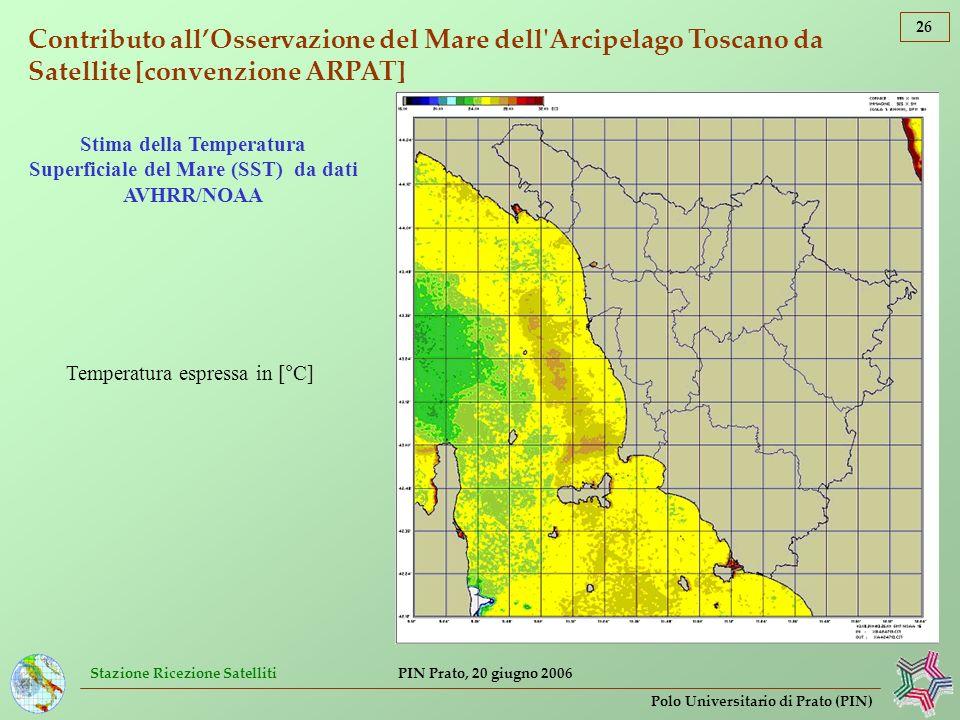 Stazione Ricezione Satelliti 26 Polo Universitario di Prato (PIN) PIN Prato, 20 giugno 2006 Contributo allOsservazione del Mare dell'Arcipelago Toscan
