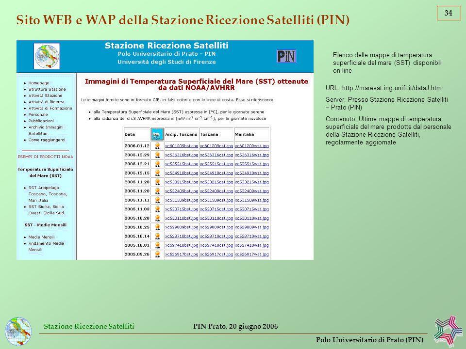 Stazione Ricezione Satelliti 34 Polo Universitario di Prato (PIN) PIN Prato, 20 giugno 2006 Sito WEB e WAP della Stazione Ricezione Satelliti (PIN) El