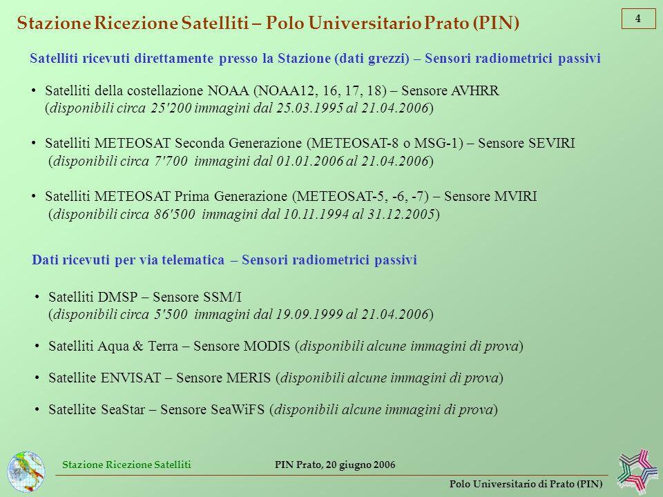 Stazione Ricezione Satelliti 5 Polo Universitario di Prato (PIN) PIN Prato, 20 giugno 2006 Stazione Ricezione Satelliti – Polo Universitario Prato (PIN) Interno della Stazione Ricezione Satelliti, 11°05 .942 E, 43°53 .134 N (lon, lat WGS84) Ricezione satelliti NOAA (fino a 12 riprese al giorno) Ricezione satellite METEOSAT-7 (1 ripresa ogni 30 minuti) Ricezione METEOSAT Seconda Generazione (1 ripresa ogni 15 minuti) Archivio storico di dati grezzi ed elaborati