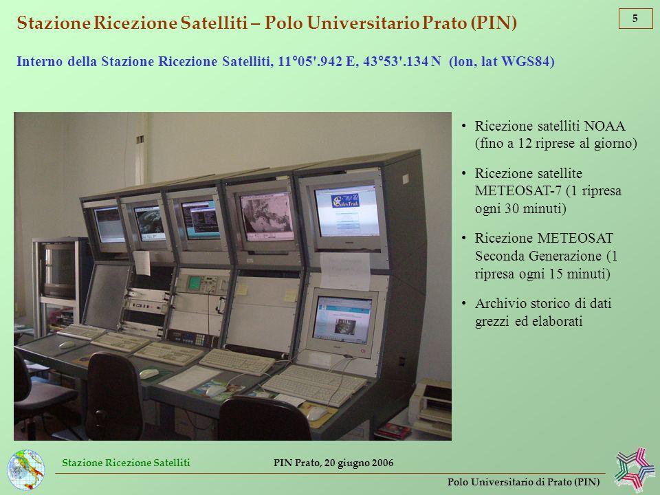 Stazione Ricezione Satelliti 16 Polo Universitario di Prato (PIN) PIN Prato, 20 giugno 2006 Osservazione dellatmosfera e correzione atmosferica di dati satellitari per lIstituto Superiore per la Prevenzione e la Sicurezza del Lavoro (ISPeSL) Calcolo di isolinee del contenuto di ozono atmosferico da dati ATOVS/NOAA Contenuto di ozono espresso in [DU] (Unità di Dobson)