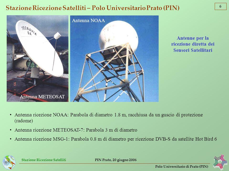 Stazione Ricezione Satelliti 7 Polo Universitario di Prato (PIN) PIN Prato, 20 giugno 2006 Stazione Ricezione Satelliti – Polo Universitario Prato (PIN) Immagini QuickLook AVHRR/NOAA (5 bande, 2048 punti/linea di scansione, risoluzione 1.1 km)